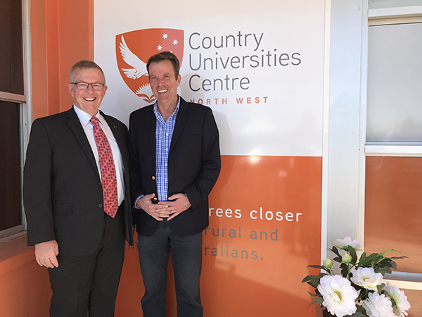 Federal Minister for Education Dan Tehan and Federal Minister for Regional Services, Decentralisation and Local Government and Member for Parkes Mark Coulton opening the Country Universities Centre North West Regional Study Hub