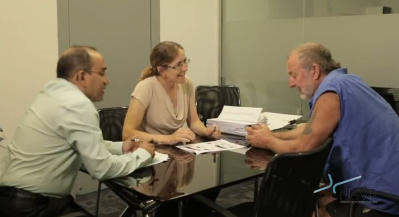 Leon Riggs from Riggs Carriers' Moree (right) discusses the heavy vehicle permit process with Council's Project Engineering Syed Hasan and Project and Development Manager Lila Fisher