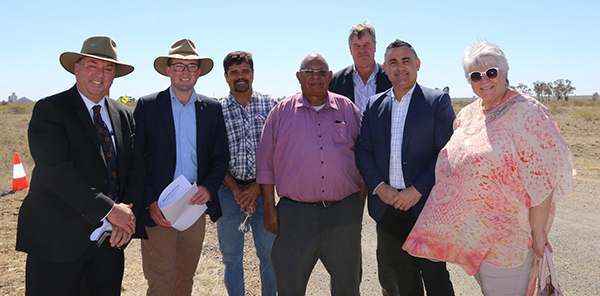 Photo: Moree Plains Shire Council General Manager Lester Rodgers, Northern Tablelands MP and Minister for Agriculture Adam Marshall, Lloyd Munro Vice-Chairman Moree Local Aboriginal Lands Council, Tom French Chairman Moree Local Aboriginal Lands Council, Councillor Greg Smith Deputy Premier John Barilaro and Mayor Katrina Humphries