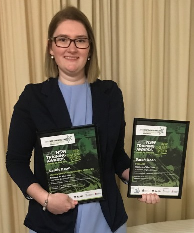 Sarah Dean achieved a Highly Commended honour at the recent NSW Training Awards for her study in Certificate III in Library and Information Services.