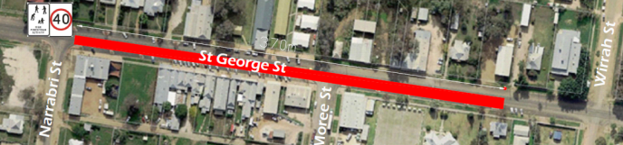 The new 40kmh zone encompasses area bordered by St George Street 370m from Narrabri Street towards Wirrah Streetpng