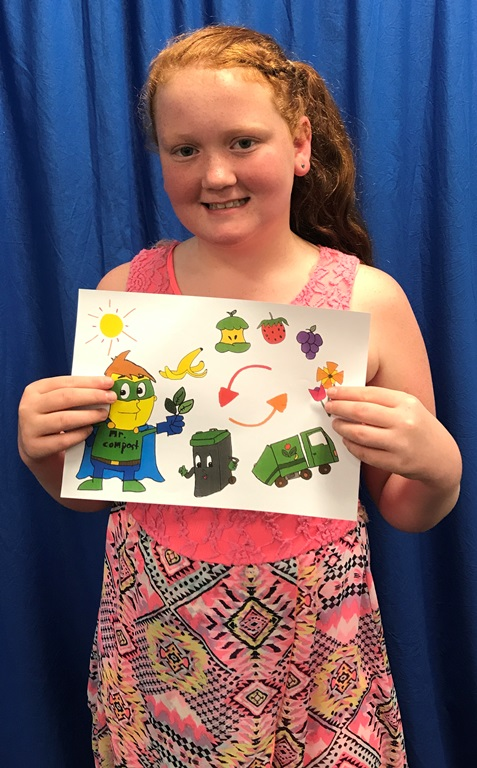Moree Public School student Mackenzie Barben was the runner-up in the Moree Plains Shire Council and Cleanaway's the mechanics of organics, superheros of compost waste truck art competition.