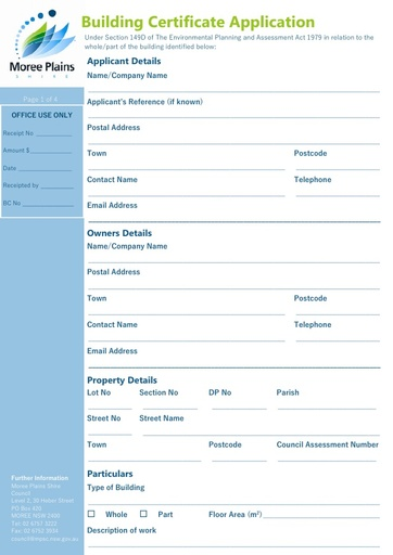 Building Certificate Application Form
