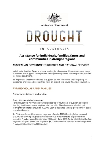 Drought assistance information pack