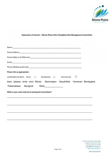 Floodplain Risk Management Committee Registration Form