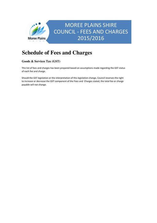 Fees and Charges 2015 2016
