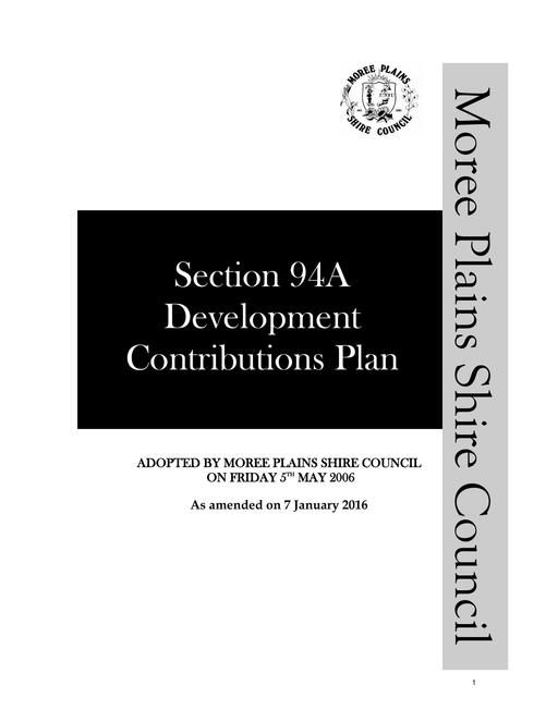 Section 94A Development Contributions Plan   policy   amendment   adopted 7 January 2016