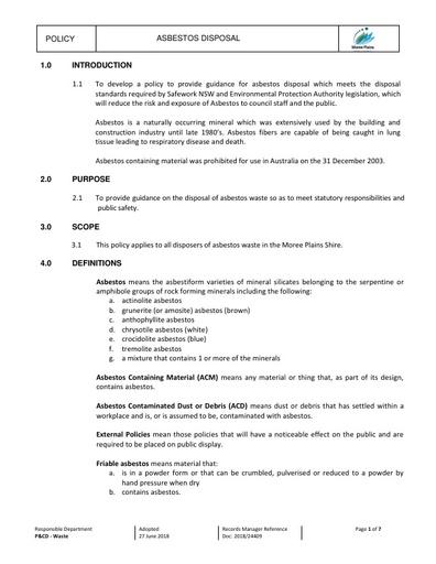 Asbestos Disposal Policy