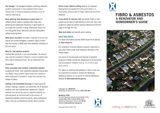 Asbestos Leaflet  renovator guide x 1