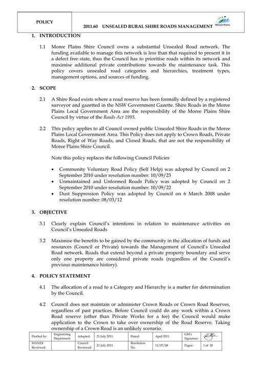 Unsealed Rural Shire Road Policy
