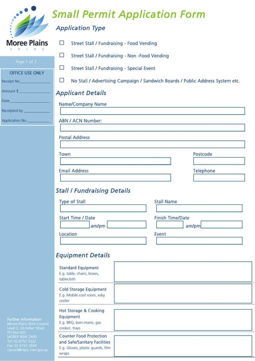 Small Permit Application Form