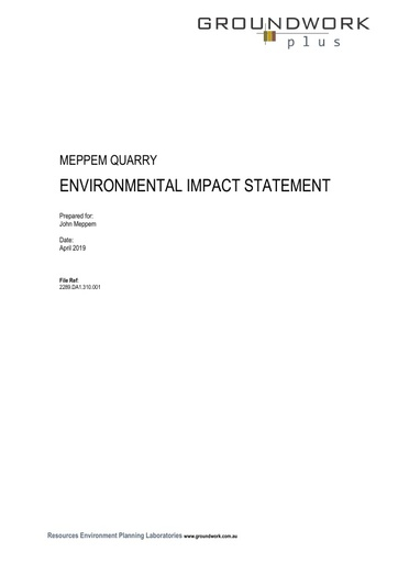 Environmental Impact Statement   Extractive Industry   Quarry   Manamoi Road BELLATA   LOT  10 DP  751753