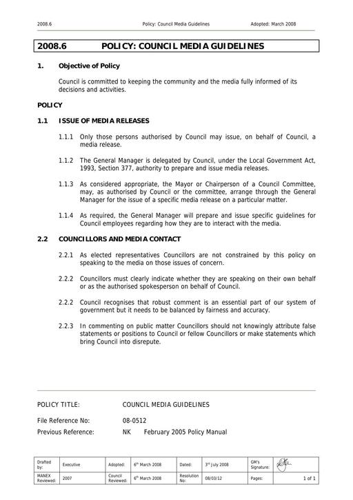 Council Media Guidelines Policy