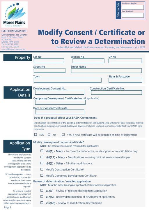 Modify Development Construction Certificate or Review Determination