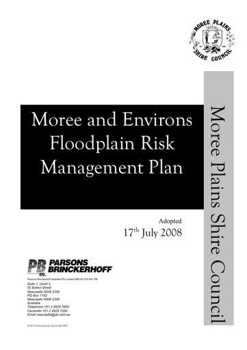 Moree & Environs Floodplain Risk Management Plan