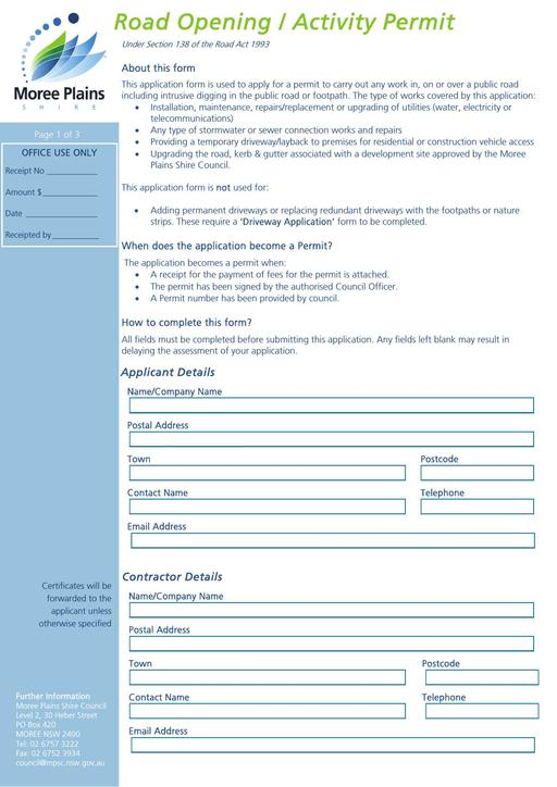 Road Opening Activity Permit Application Form