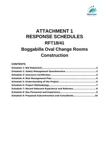 Att 1 Response Schedules