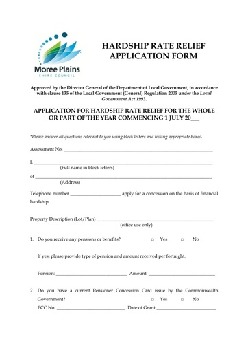 Hardship Rate Relief Application Form