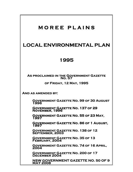 Local Environment Plan LEP1995 Amended May 2008